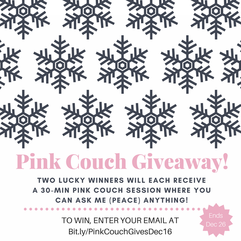 Pink Couch Gives Dec 16